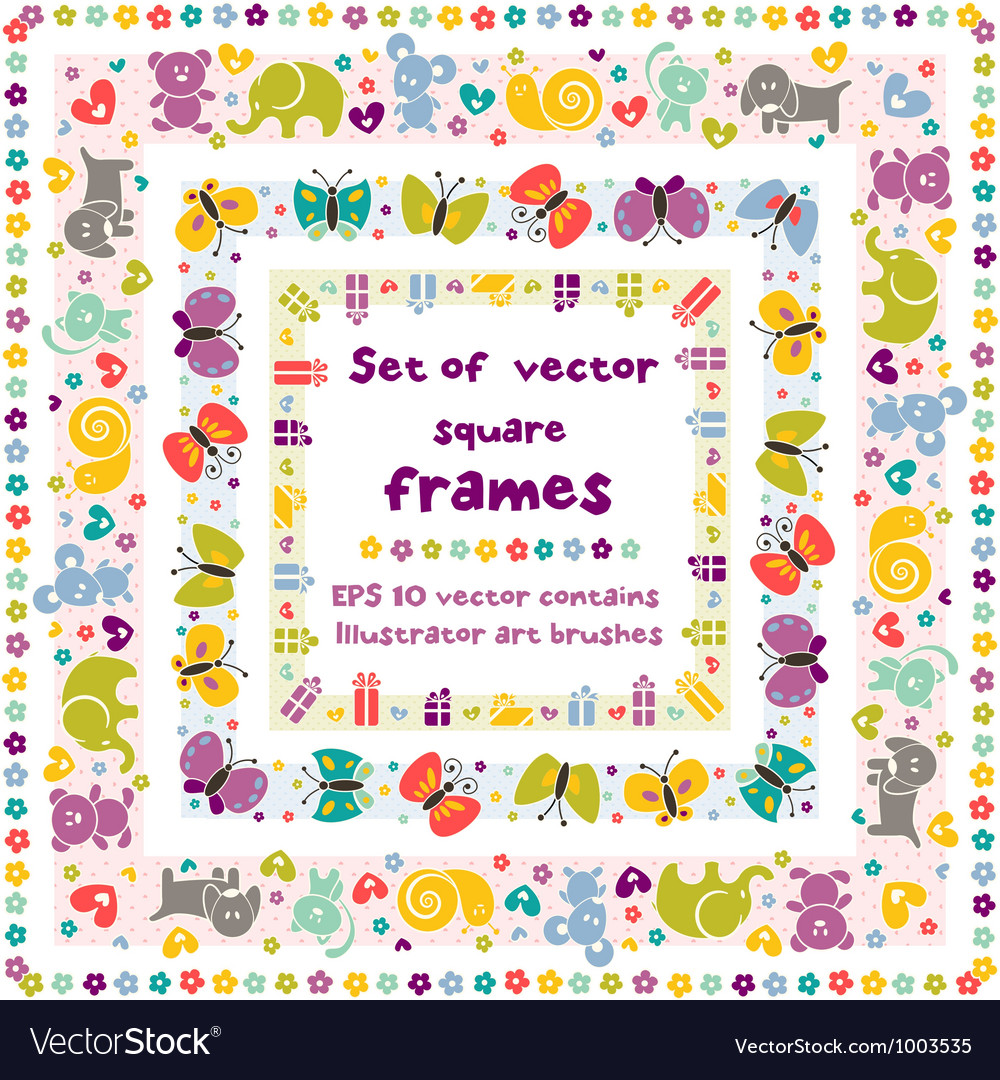 Cute frames with baby icons