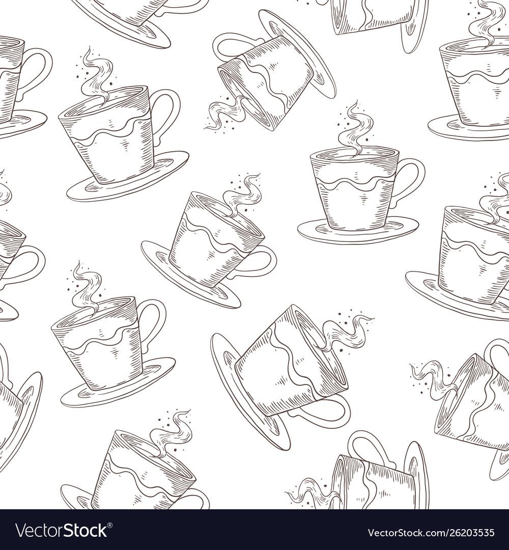 Hand drawn coffee pattern cute seamless print
