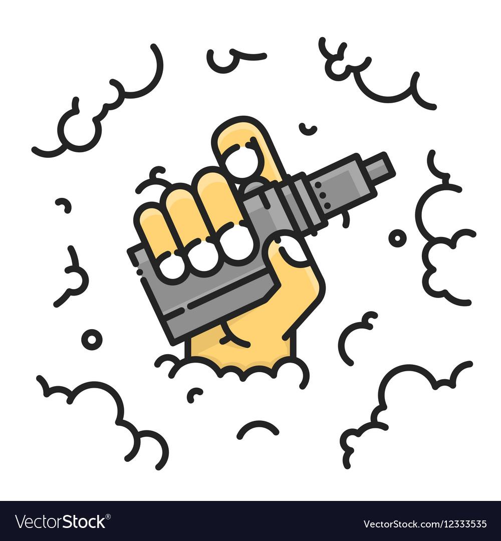 Hand holding vape graphic on a smoke vector image