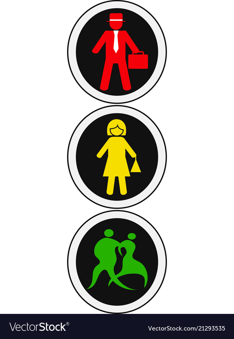 Isolated people traffic light design