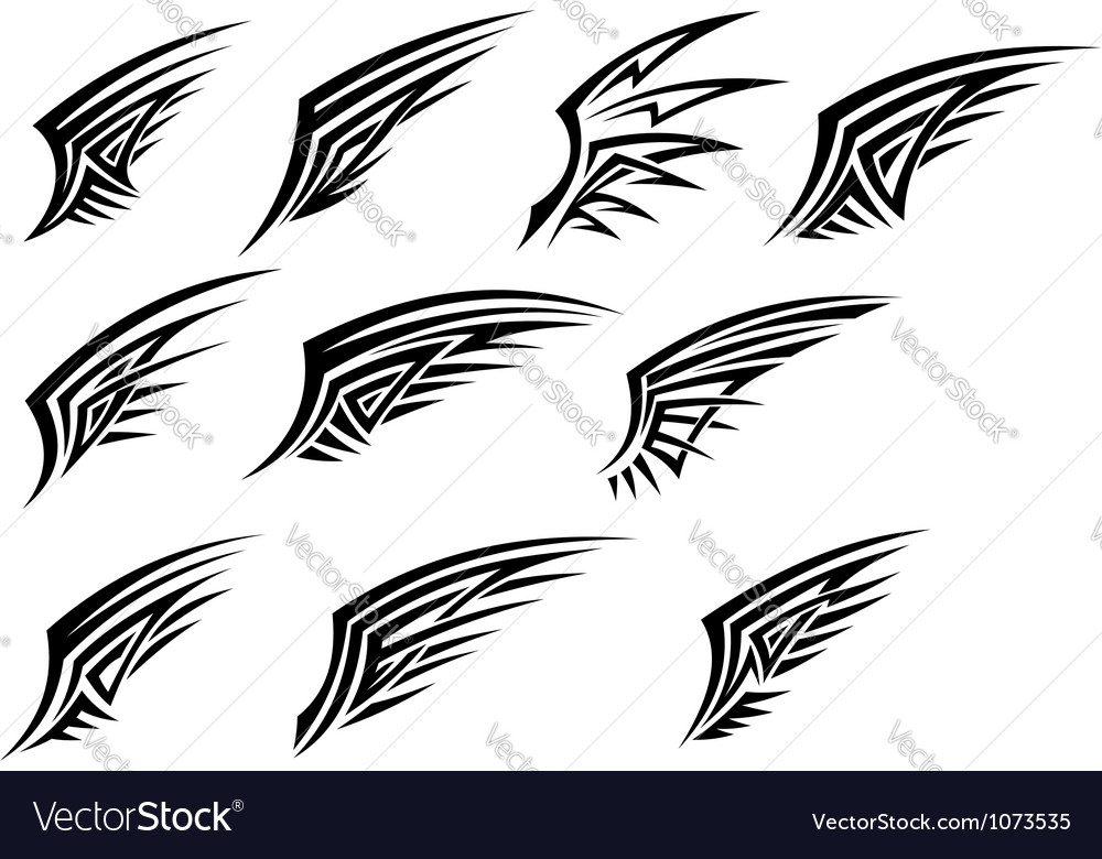 Set of black tribal wing tattoos vector image