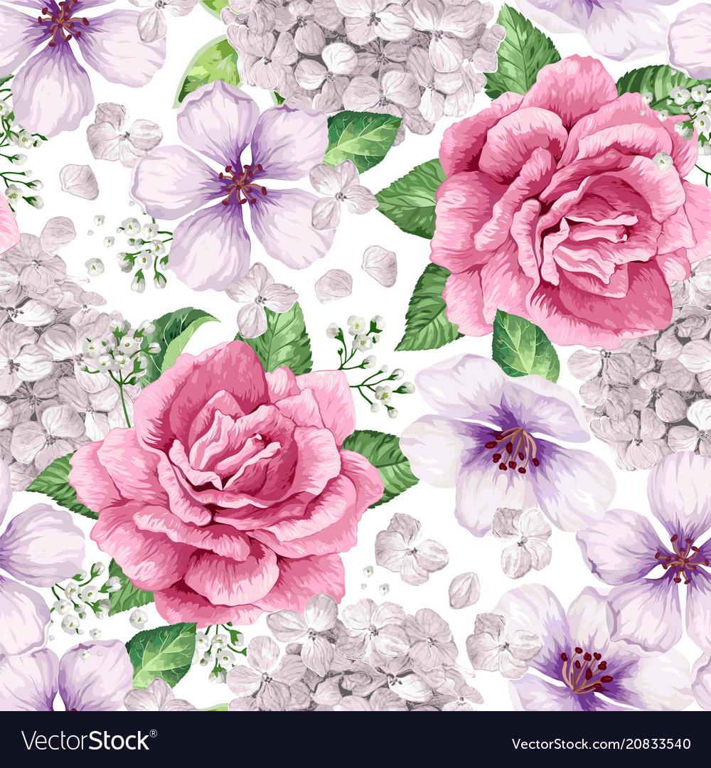 Apple tree roses hydrangea flowers petals