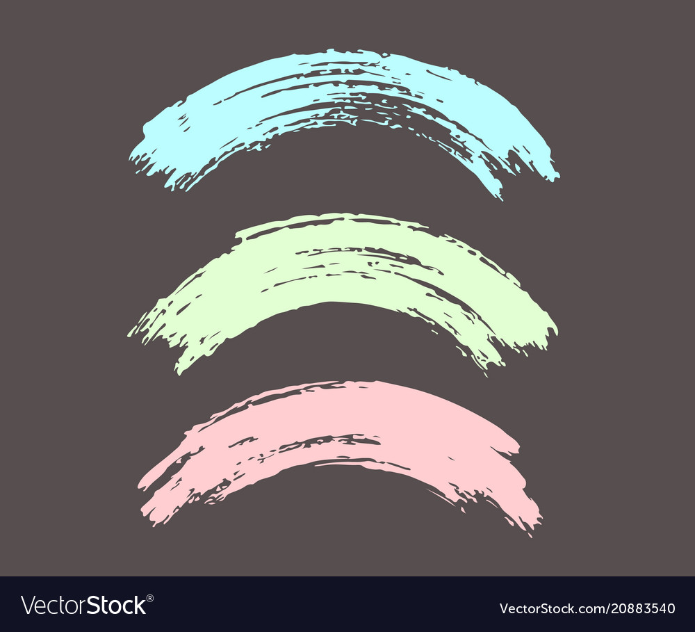 Arched brush strokes colorful in pastel colors