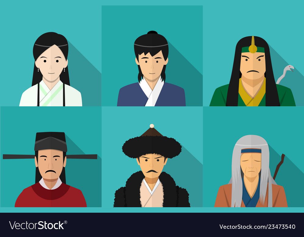 Avatar of chinese people in flat style art