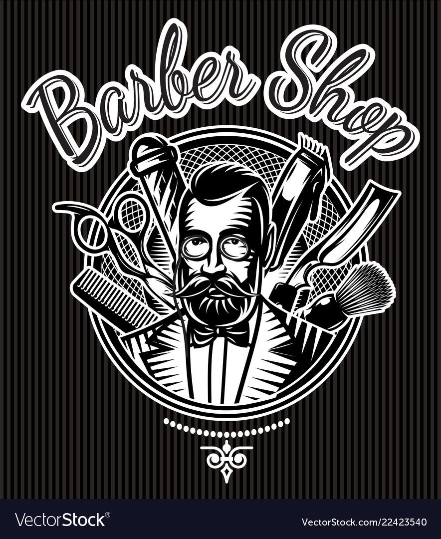 Barbecue monochrome badge with barber