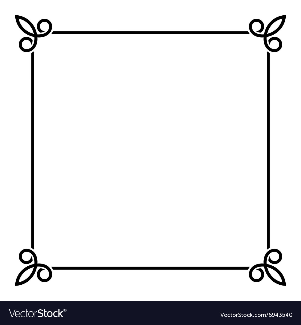 Black Border Vintage Frame On White Background Vector Image