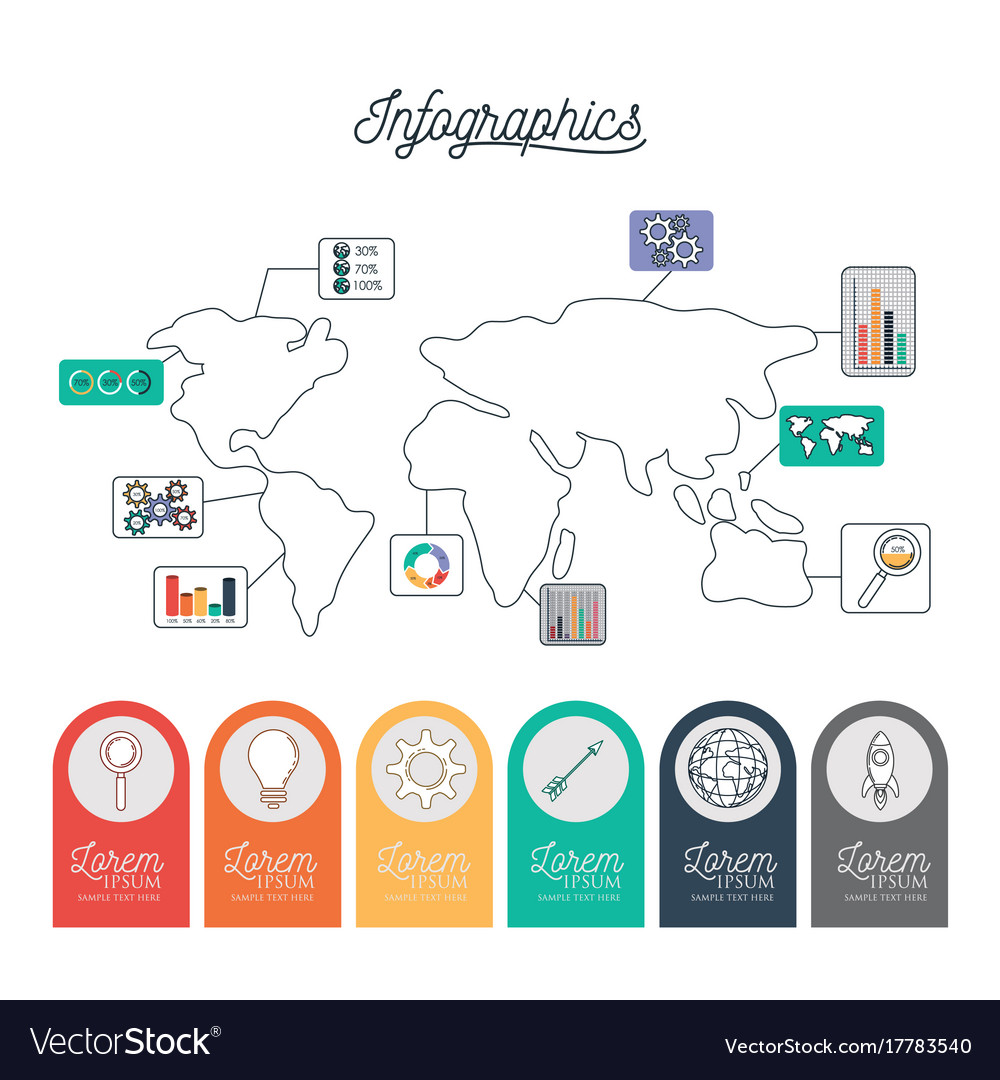 Infographic world map with labels with icons on Vector Image