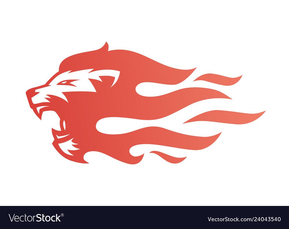 Lion fire flame logo tattoo