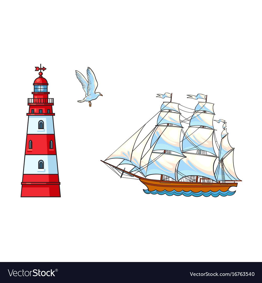 Sailing ship lighthouse and seagull set