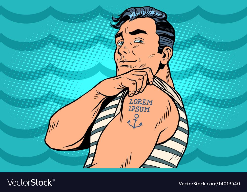 Sailor with lorem ipsum tattoo on hand vector image