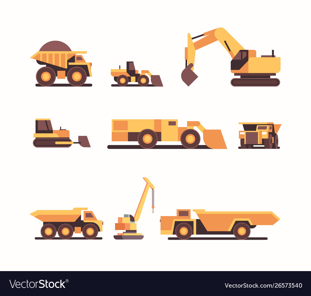 Set different heavy yellow industrial machines