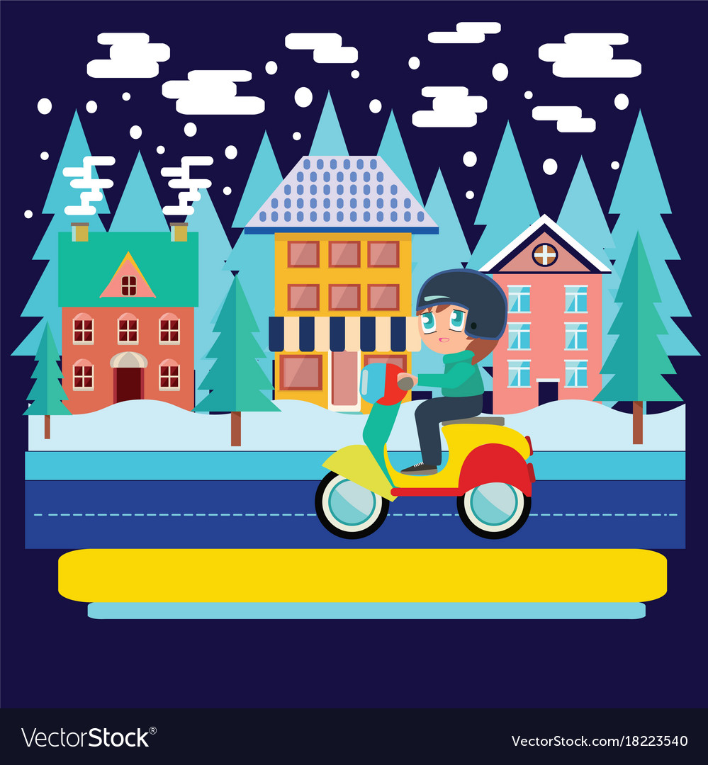 Winter city landscape and boy riding scooter