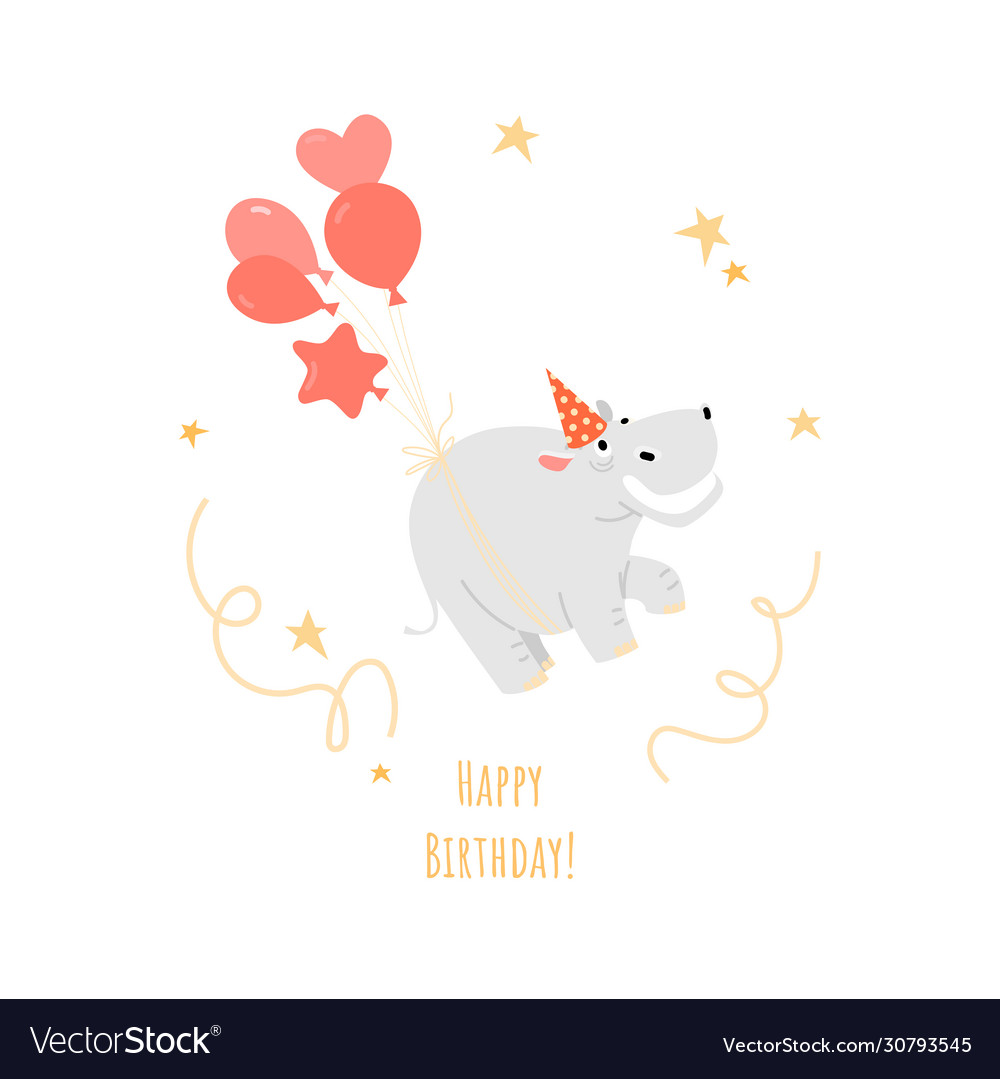 A birthday greeting card with a funny hippo