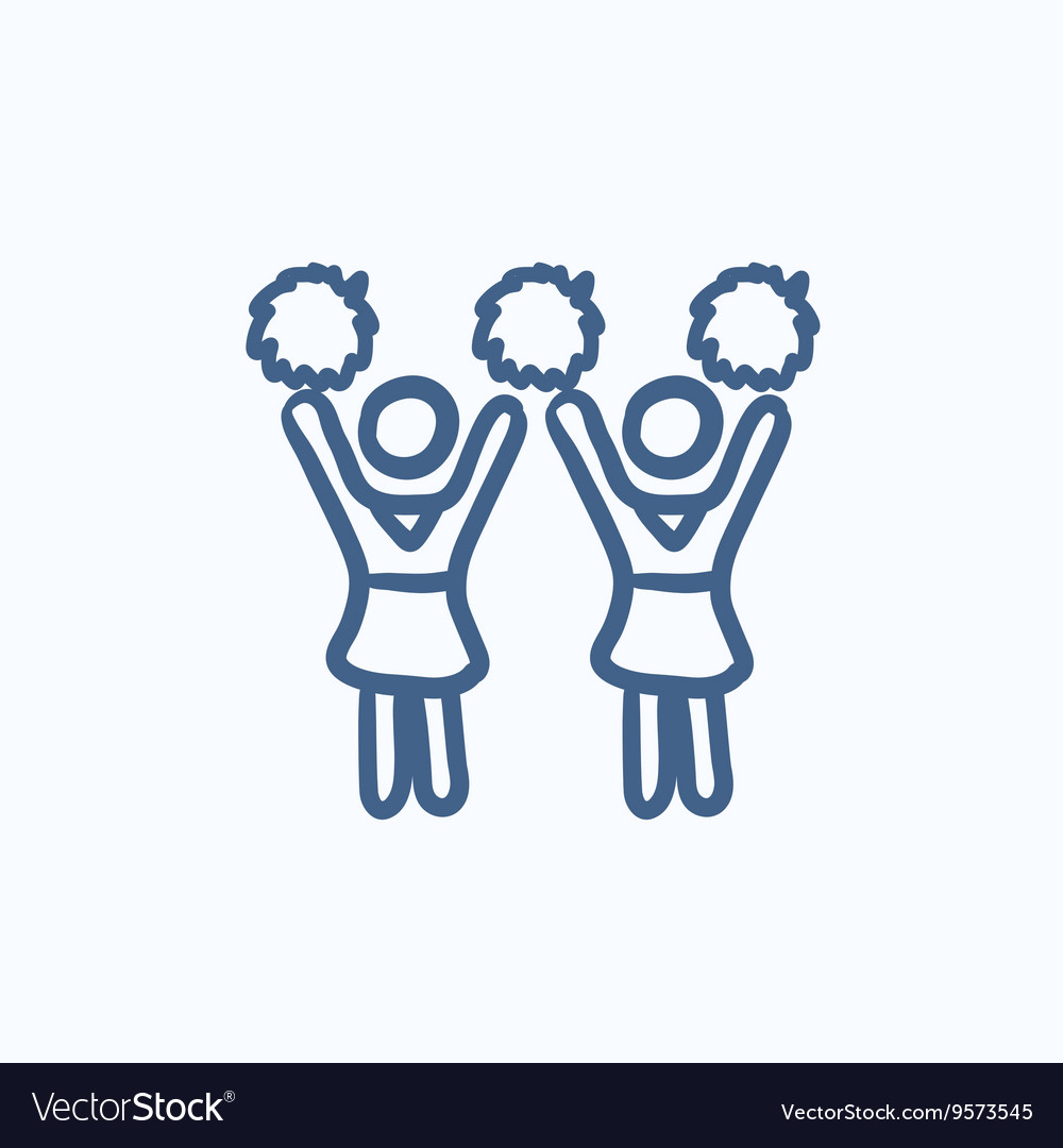 Cheerleaders sketch icon