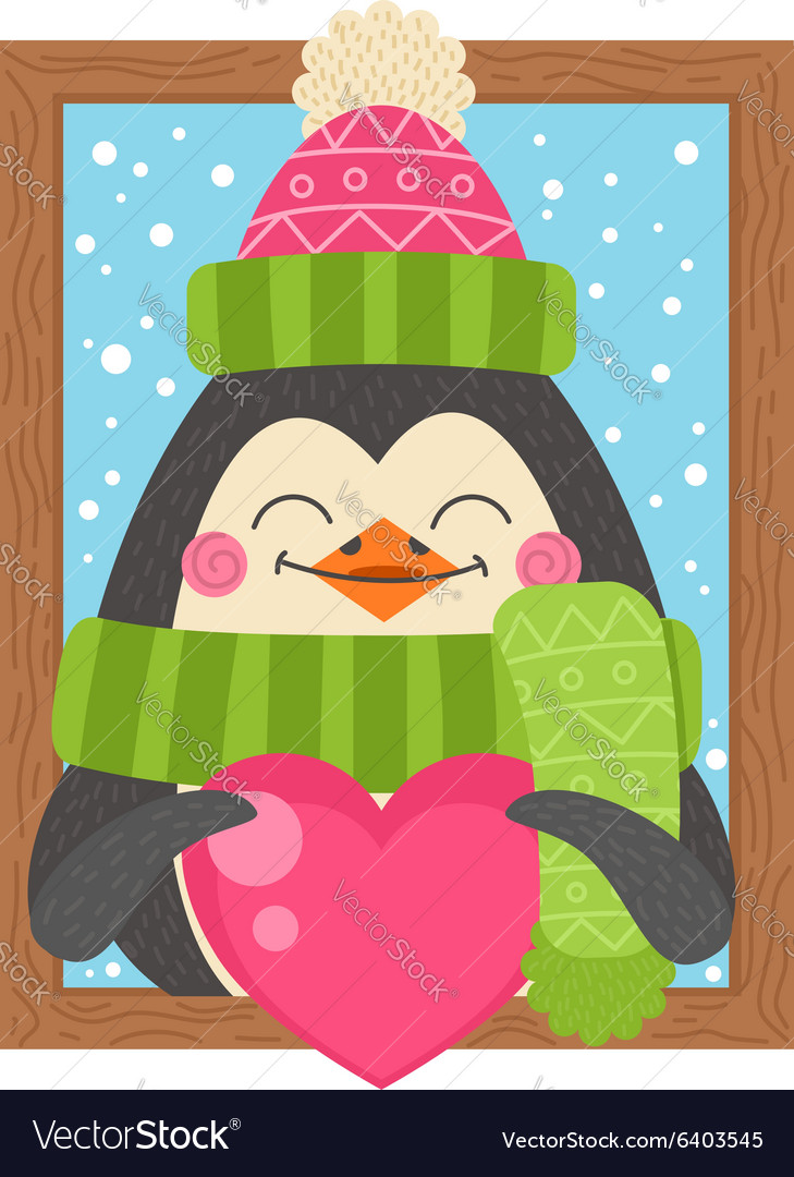 Cute cartoon penguin holding a heart funny winter