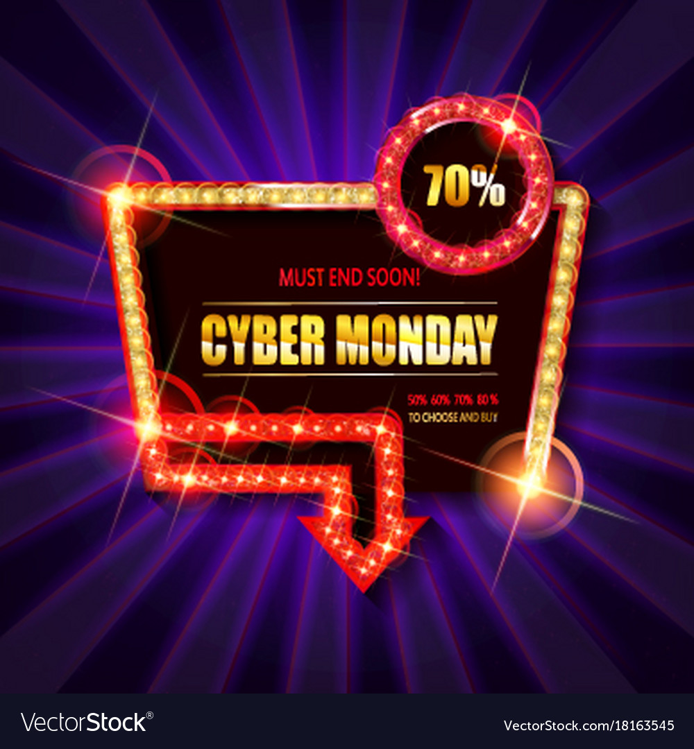 Cyber Monday Retro Light Frame Vector Image