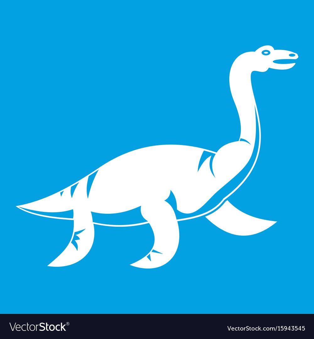 Elasmosaurine dinosaur icon white vector image