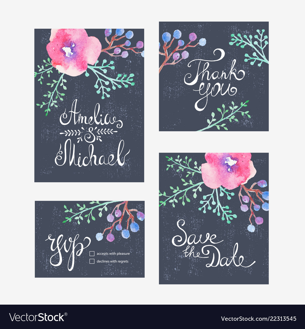 Invitation card with watercolor flowers for your