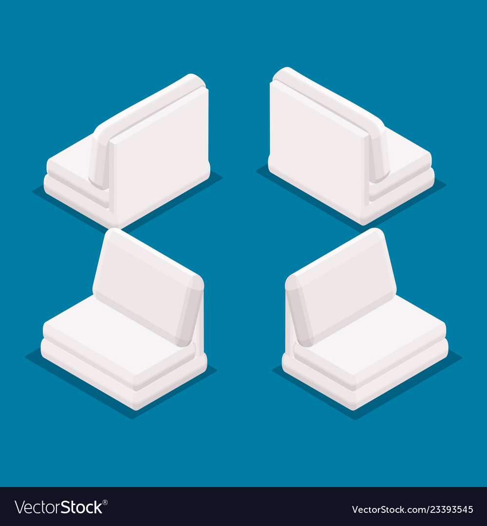 Isometric Office Furniture Front View Rear View Vector Image