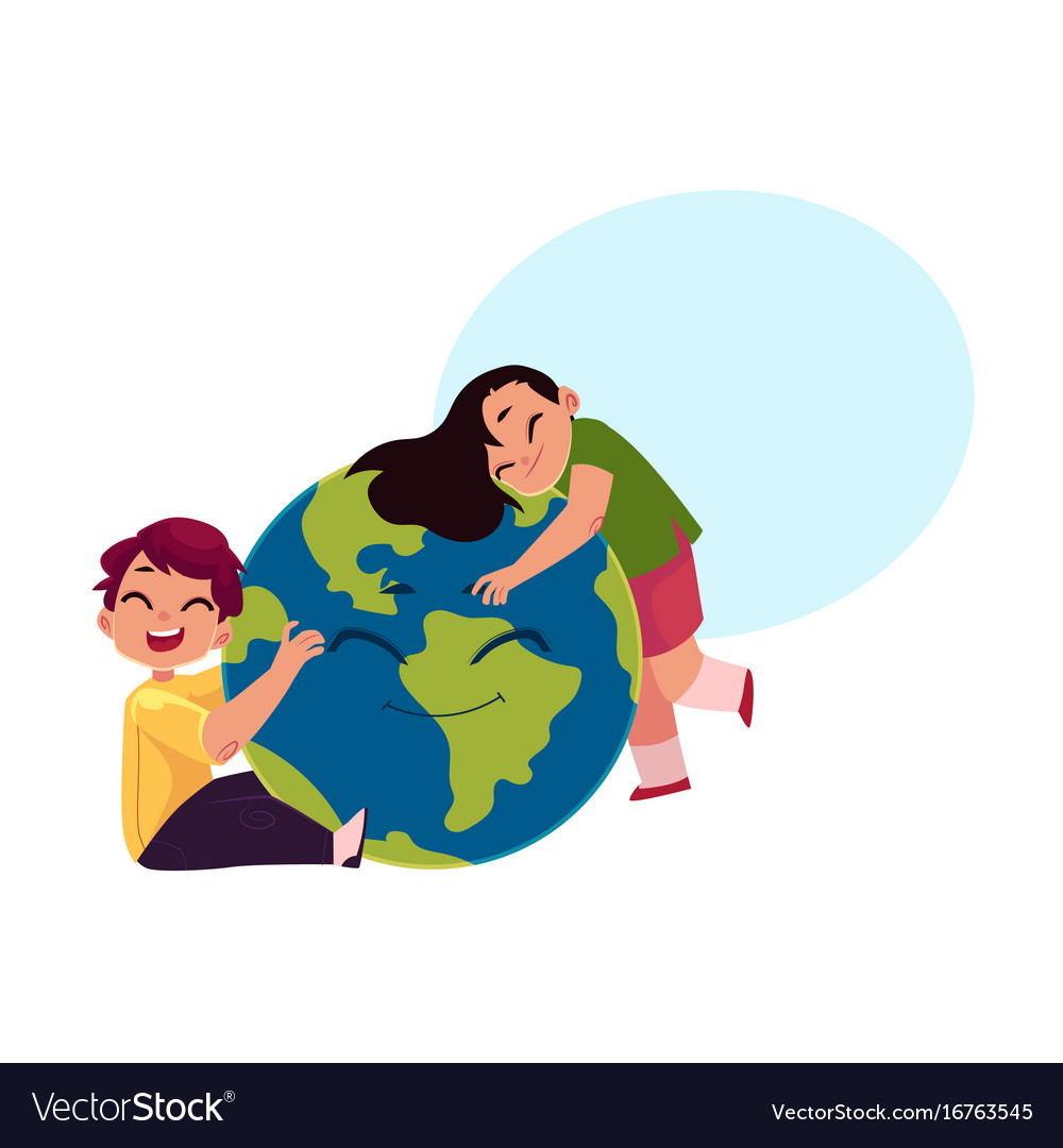 Kids hugging smiling globe earth planet character