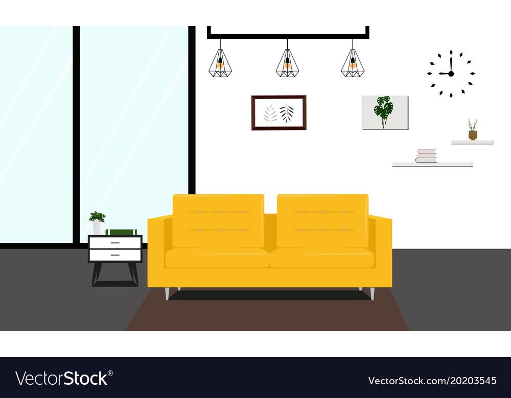 Modern livingroom with yellow sofa
