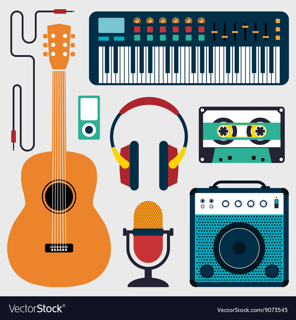Music instruments and sound flat design