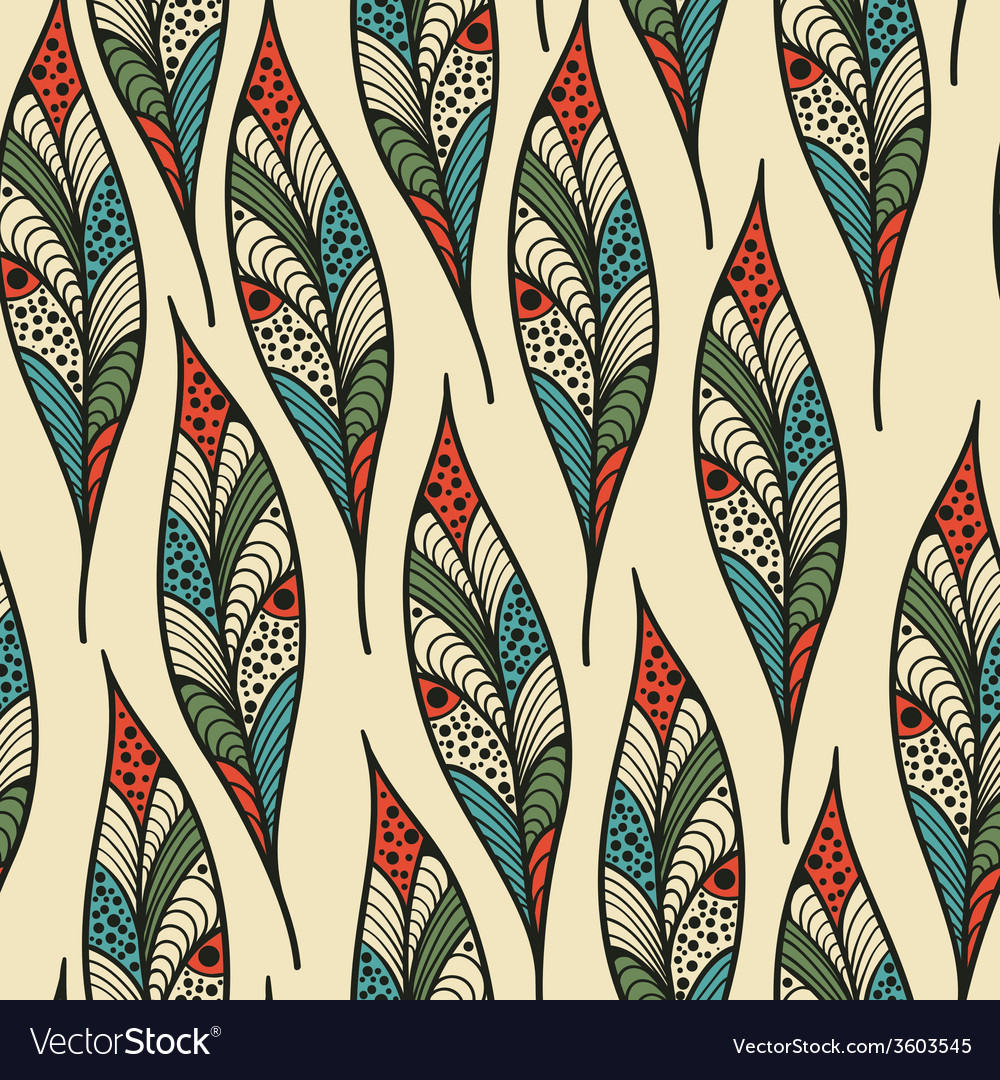 Seamless Pattern with bright feathers