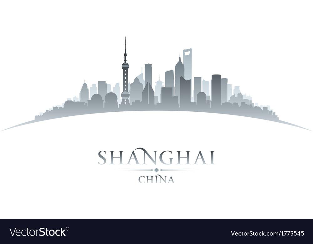 Shanghai China city skyline silhouette vector image
