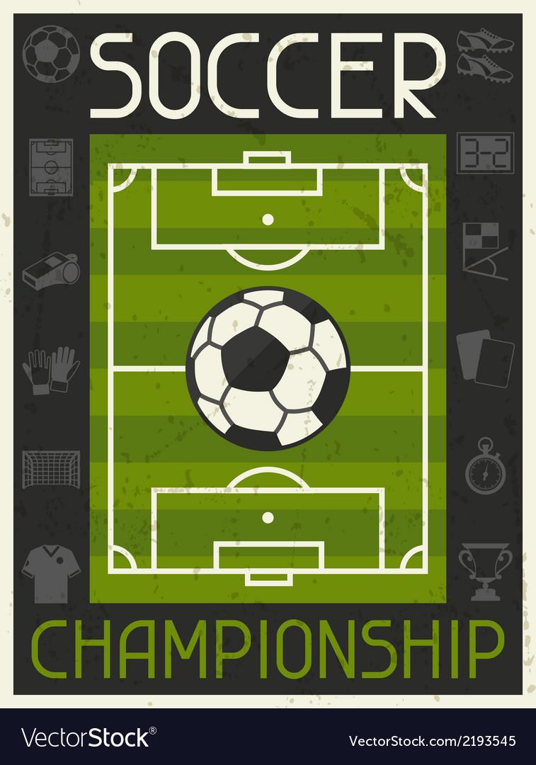 Soccer Championship Retro poster in flat design