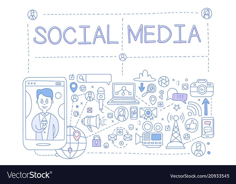 Social media set communication in the global vector image