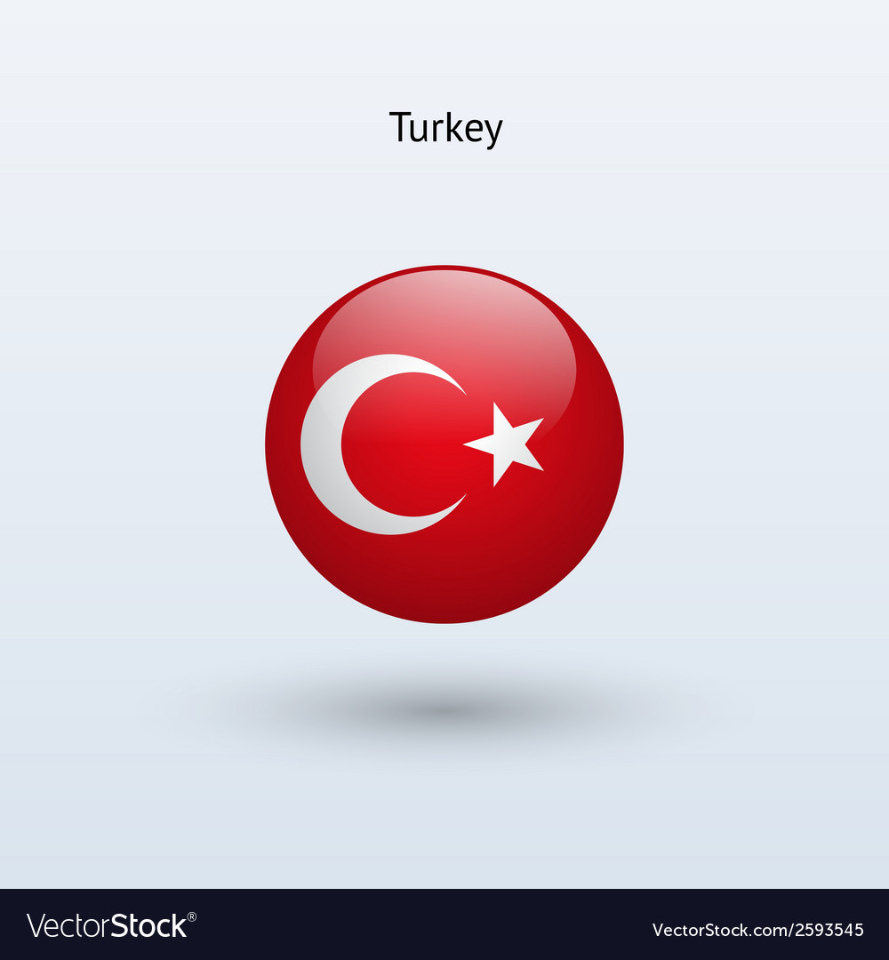 Turkey round flag vector image