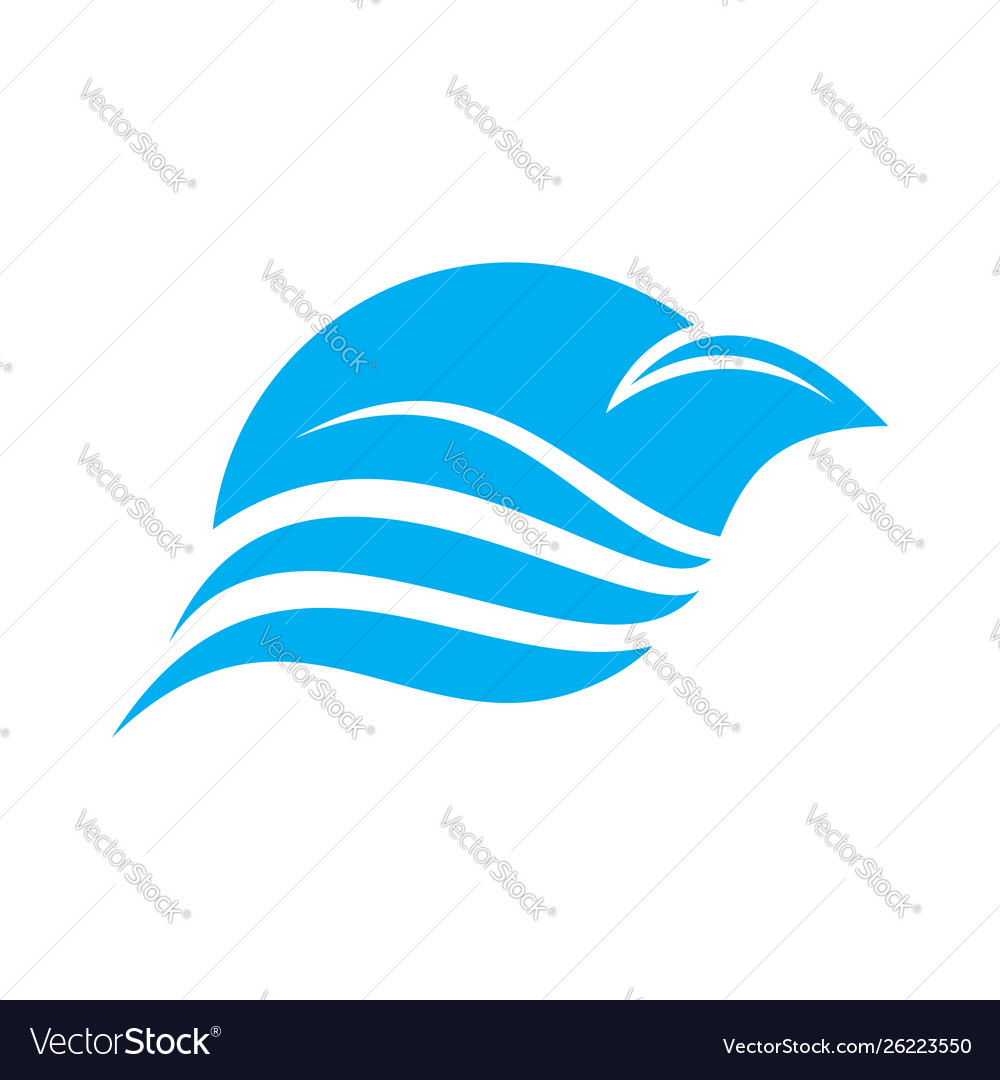 Abstract blue bird flying swoosh lines design