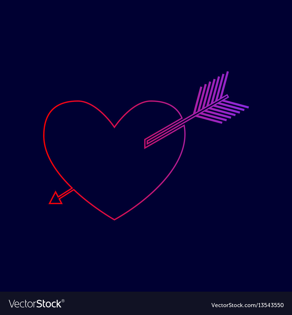 Arrow heart sign line icon with gradient vector image