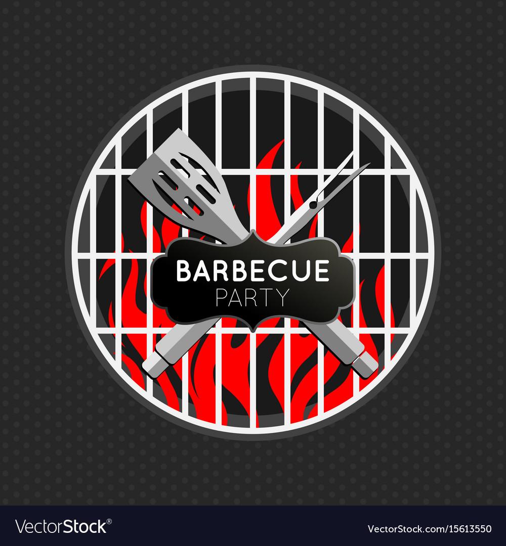 Barbecue party logo icon design template vector image