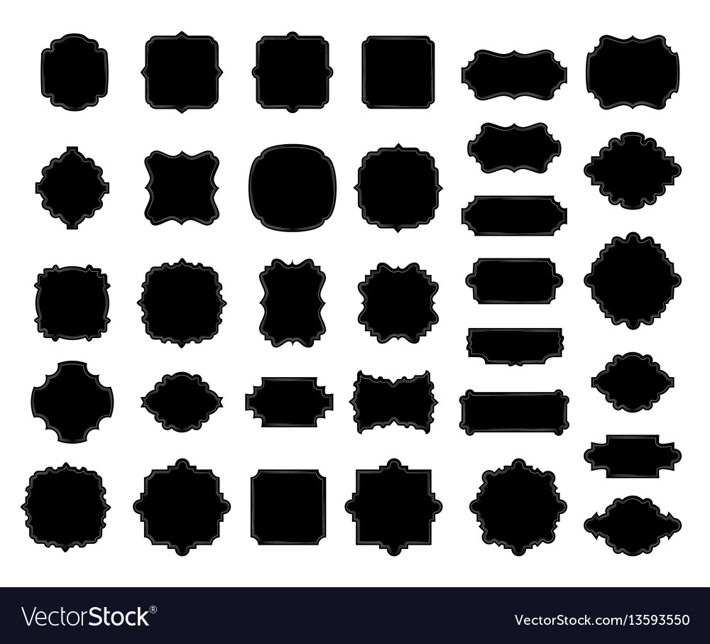 Blank black borders and frames collection elegant vector image