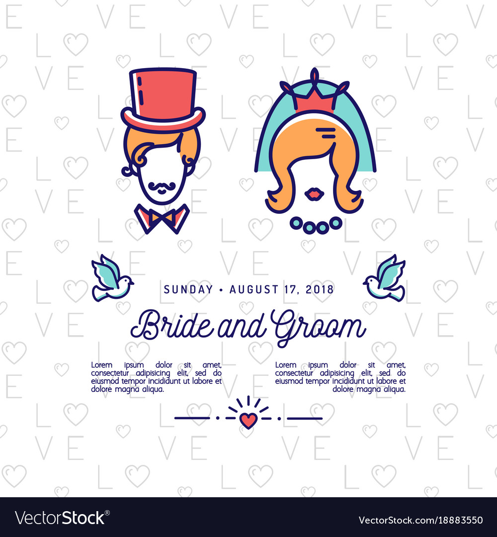 Bride and groom icons wedding invitation retro