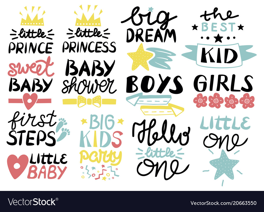 Collection of 13 children logo with handwriting
