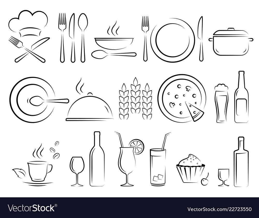 Hand drawn restaurant icons set on white