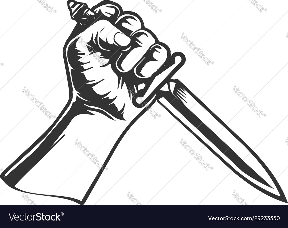 Hand with knife dagger for tattoo illu