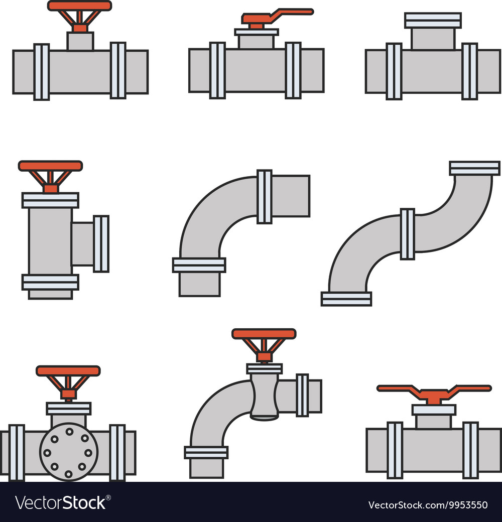 Icons of pipe connector valve for plumbing