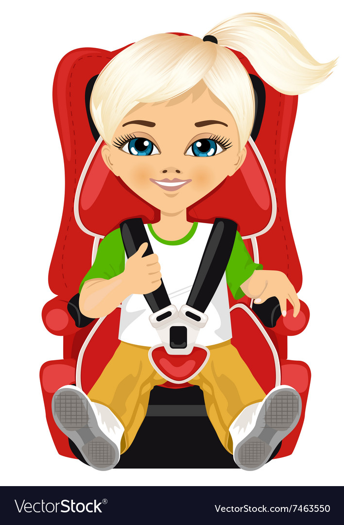 Little girl strapped to a car seat Royalty Free Vector Image
