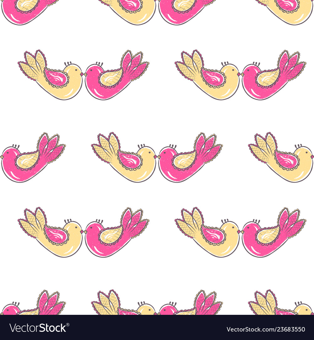 Pattern with birds in love