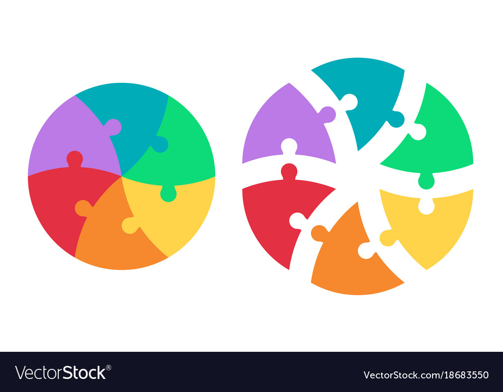 Round puzzle triangular colored sectors template