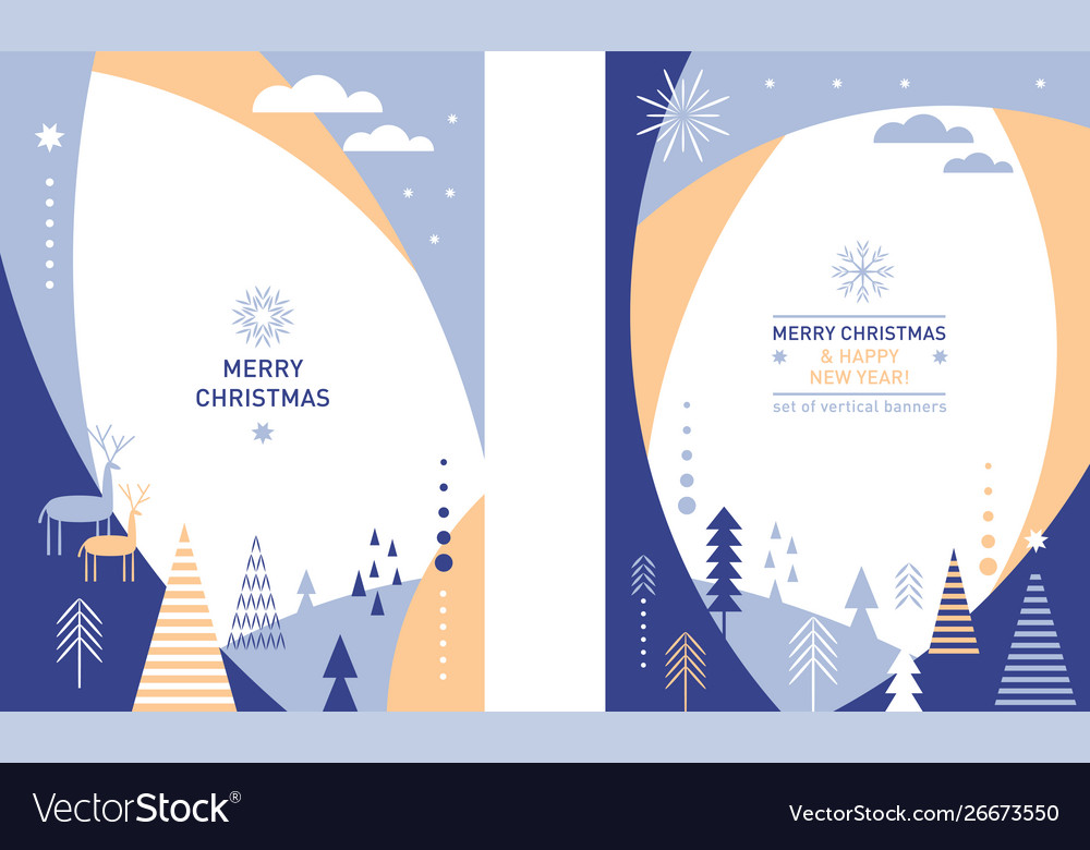 Set christmas vertical banners