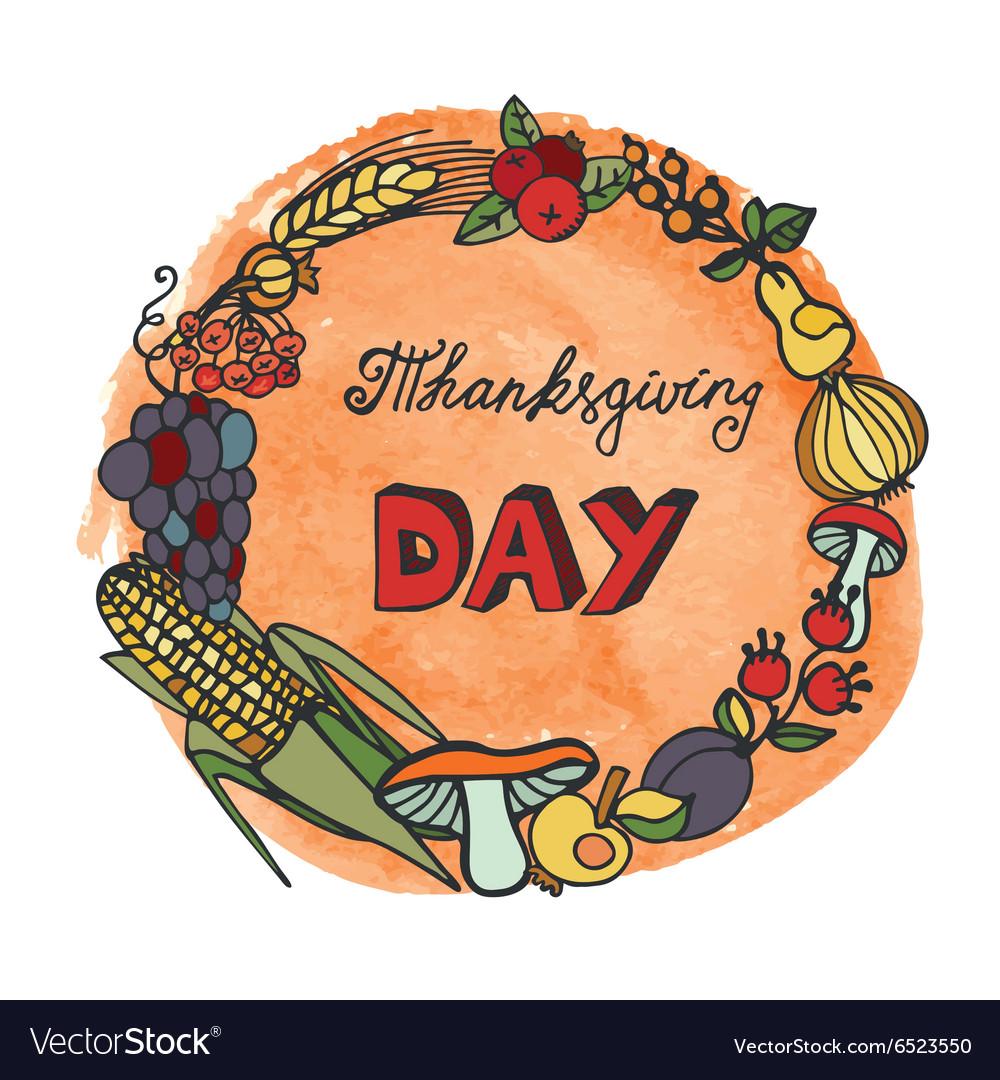 Thanksgiving dayDoodle harvest wreathwatercolor