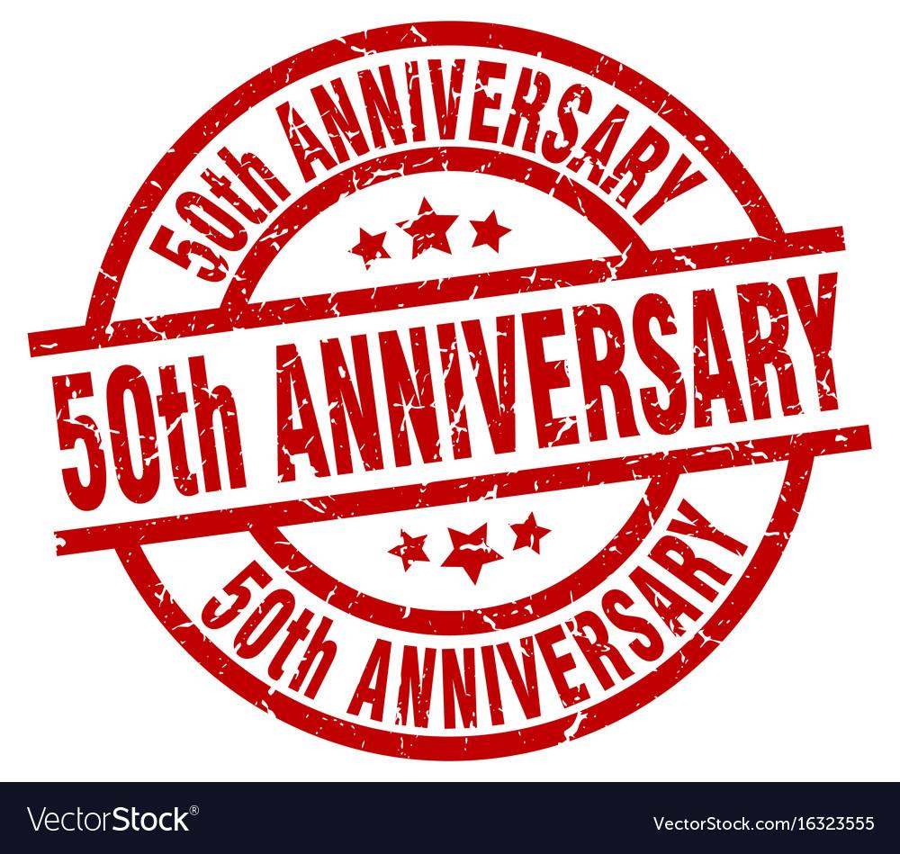 50th anniversary round red grunge stamp