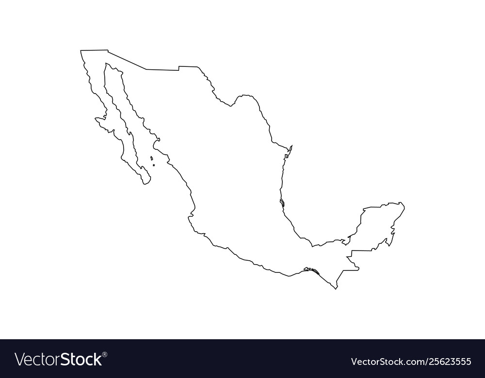Black outline mexico map Royalty Free Vector Image