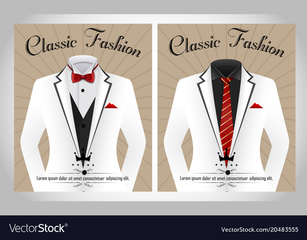 Business Suit Template With Red Tie And Black Whit