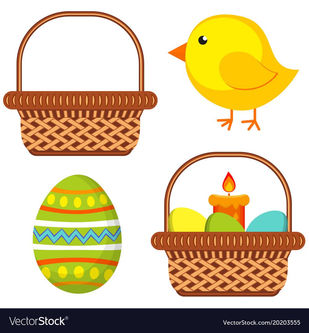 Cartoon easter icon set chick candle egg basket