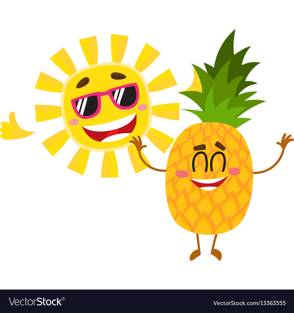 Funny pineapple and sun characters enjoying summer vector image